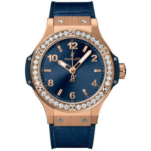 Hublot Big Bang Gold Blue Diamonds 38mm Quarz